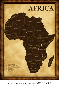 Map of Africa on the old background