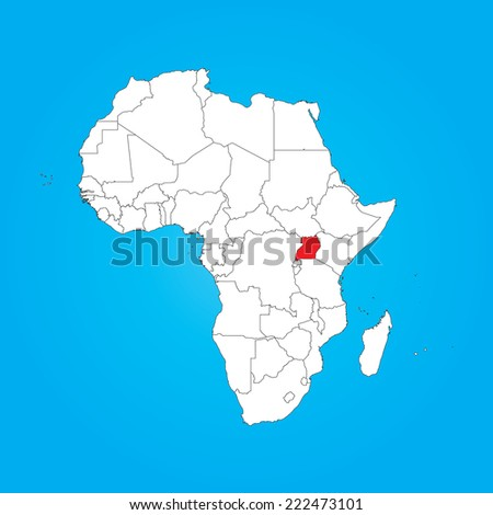 Map Africa Selected Country Uganda Stock Illustration Royalty Free