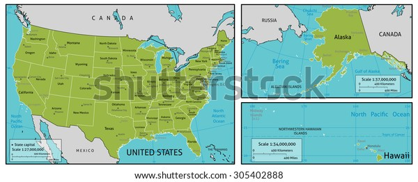Map Of America Major Cities.Map America State Names State Capitals Stock Illustration 305402888