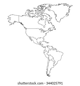 map of the american continent with black outline on white background with main internal borders