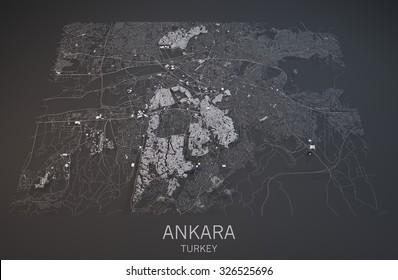 Map of Ankara, Turkey, satellite view, map in 3d