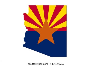Map of Arizona in the Arizona flag colors isolated over white 3D Illustration