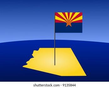 map of Arizona and their flag on pole illustration JPG