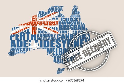Map of Australia made from cities list. Textured by national flag. Free delivery stamp. 3D rendering