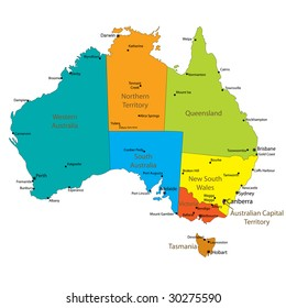 A Map Of Australia With The States.Western Australia Map Images Stock Photos Vectors Shutterstock