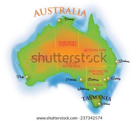 Map Of Australia And Tasmania.Map Australia Tasmania Stock Illustration 237342574 Shutterstock