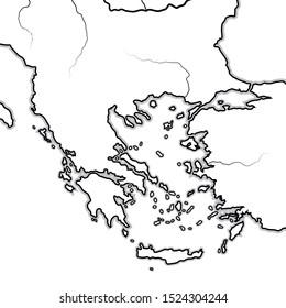 Map of The BALKAN / GREEK Lands: Greece (Hellas), Balkans, Peloponnese, Thessalia, Thracia, Macedonia, Albania, Illyria, Ionia, Anatolia, Aegean Sea & Archipelago. Geographic chart: coastline & isles.