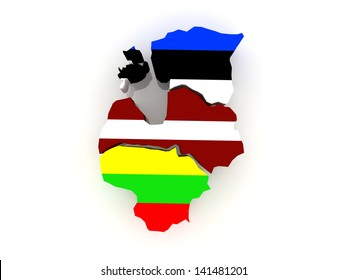 Map of Baltic States. 3d