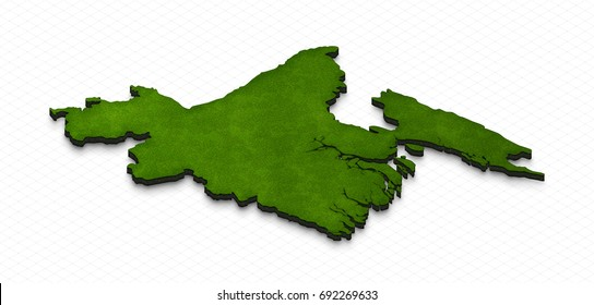 Map of Bangladesh. Illustration of a green ground map of Bangladesh on grid background. Right 3D isometric perspective projection.