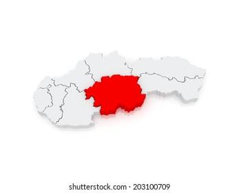 Map of Banska Bystrica Region. Slovakia. 3d
