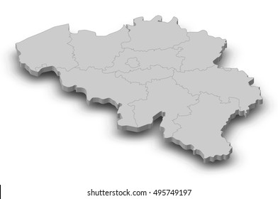 Map - Belgium - 3D-Illustration
