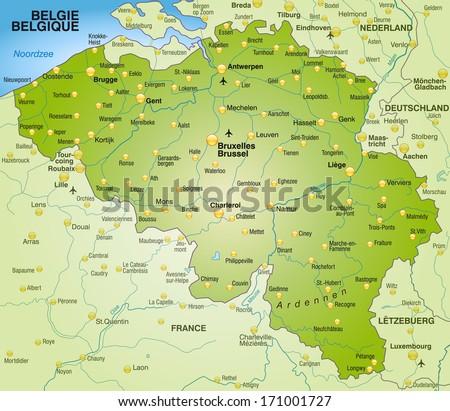 Map Belgium Overview Map Green Stockillustration 171001727 ...