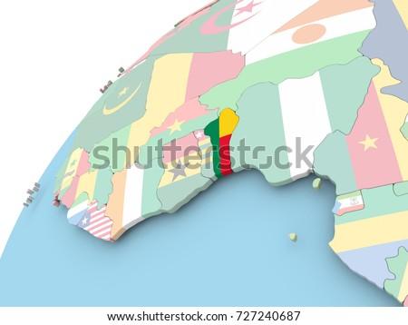 Map Benin On Political Globe Embedded Stock Illustration 727240687 ...
