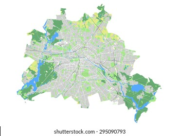 Map of Berlin showing the city structure with built-up areas, agriculture, forest, water, and transportation
