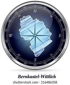 Map of Bernkastel-Wittlich with borders in chrome