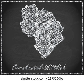 Map of Bernkastel-Wittlich as chalkboard  in Black and White