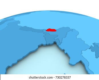 Map of Bhutan in red on blue political globe. 3D illustration.
