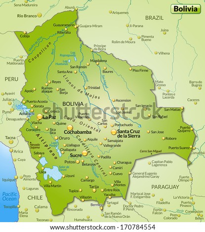 Map Bolivia Overview Map Green Stockillustration 170784554 ...