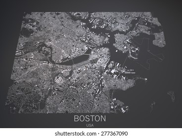 Map of Boston, Usa, satellite view, map in 3d