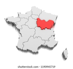 Map of Bourgogne Franche Comte region, France. 3D illustration