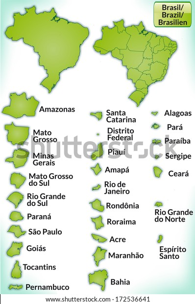 Map Brazil Borders Green Stockillustration 172536641