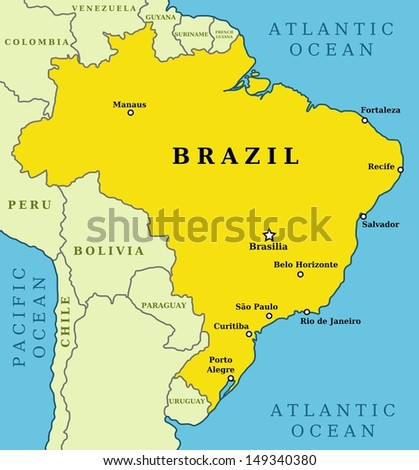 Map Brazil Country Outline 10 Largest Stock Illustration 149340380