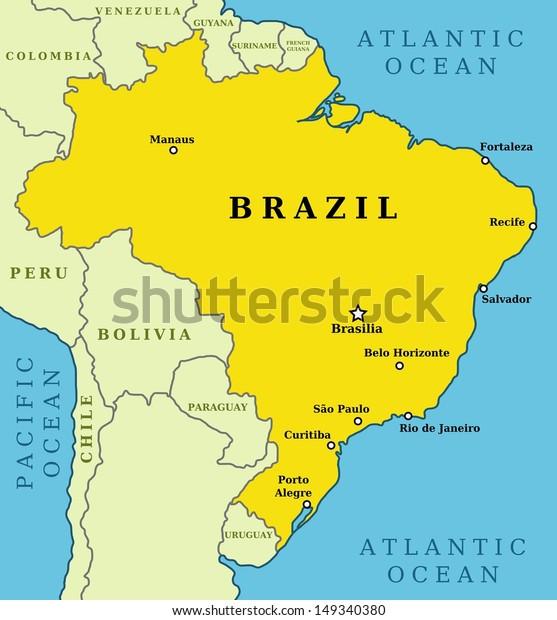 Map Brazil Country Outline 10 Largest Stockillustration ...
