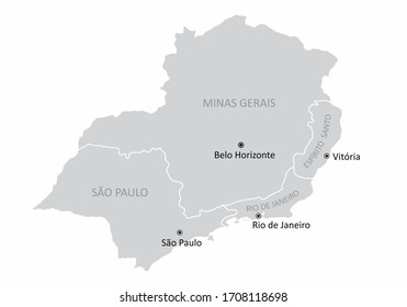 Map of the Brazil southeast region with the main cities isolated on white background