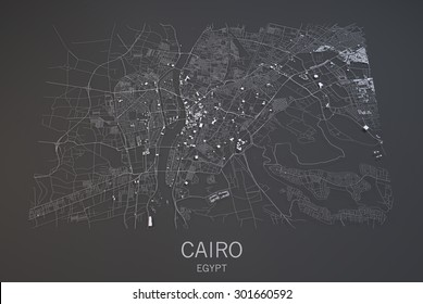 Map of Cairo, Egypt, satellite view, map in 3d