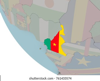 Map of Cameroon on political globe with embedded flags. 3D illustration.