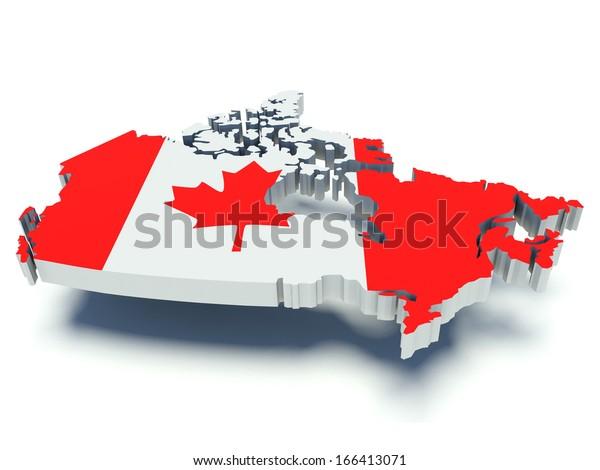 Map Canada Flag Colors 3d Render Stock Illustration 166413071