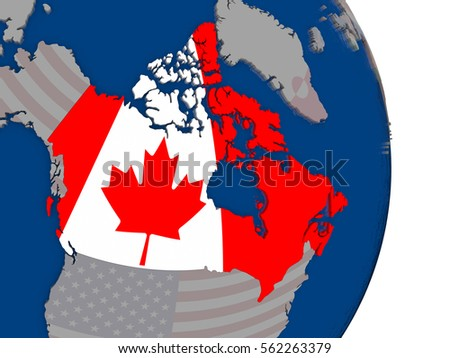Map Of Canada On Globe.Map Canada Flag On Globe 3 D Stock Illustration 562263379 Shutterstock