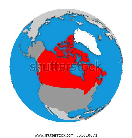 Map Of Canada On Globe.Map Canada Highlighted Red On Globe Stock Illustration 551818891