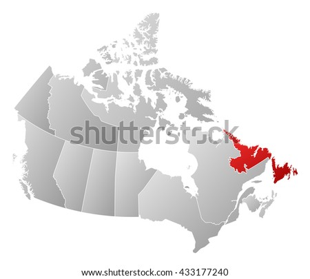Royalty Free Stock Illustration of Map Canada Newfoundland Labrador ...