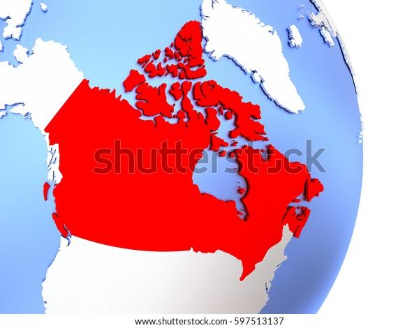Map Of Canada On Globe.Map Canada On Elegant Polished Globe Stock Illustration 597513137