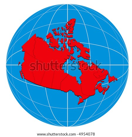 Map Of Canada On Globe.Map Canada On Globe Stock Illustration 4954078 Shutterstock