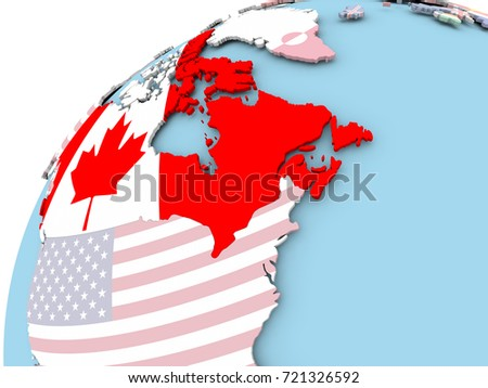 Map Of Canada On Globe.Map Canada On Political Globe Embedded Stock Illustration 721326592