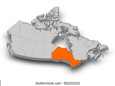 Map - Canada, Ontario - 3D-Illustration
