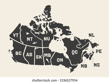 Map Canada. Poster map of provinces and territories of Canada. Black and white print map of Canada for t-shirt, poster or geographic themes. Hand-drawn black map with provinces. Illustration