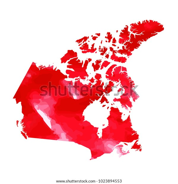 Map Of Canada Red.Map Canada Water Color Texture Red Stock Illustration 1023894553