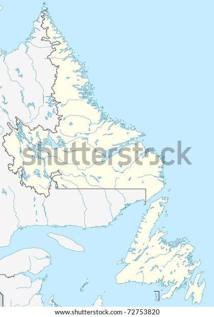 Map Of Canada Newfoundland.Map Canadian Canada Province Newfoundland Labrador Stock