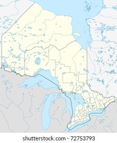 Map of Canadian or Canada province of Ontario.