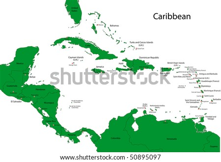 Map Caribbean Countries Capital Cities Stock Illustration 50895097 on