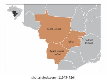 Map of the center-west region of Brazil with the identified states