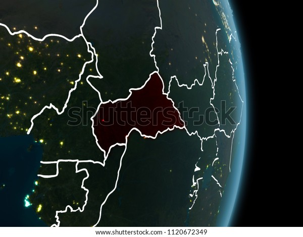 Map Of Africa From Space.Map Central Africa Red Seen Space Stock Illustration 1120672349