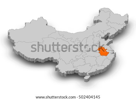 Royalty Free Stock Illustration Of Map China Anhui 3 D Illustration