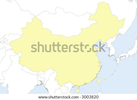 Map China Country Borders Neighbor Countries Stock Illustration ...