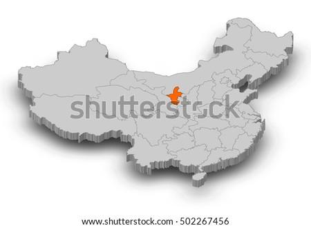 Ningxia China Map.Map China Ningxia 3 D Illustration Stock Illustration Royalty Free