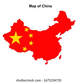 Map of China with regions and cities. Colorful graphic illustration with map of China. Chinese map with regions. Map with abstract grey colors.