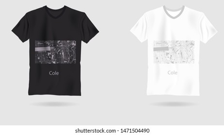 map city cole . Printing on T-shirt. Art web object.